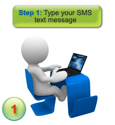 How sms message delivery works - step 1 - type your test message