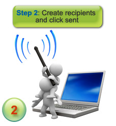 How sms message delivery works - step 2 - enter recipients and click send