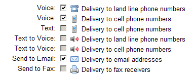 SMS Message Delivery Options