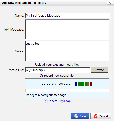 pre-recorded sms messages - Add New Library Entry