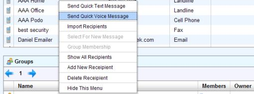 Menu with Quick Voice Message