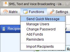 SMS alerts - Send Quick Message from the top menu